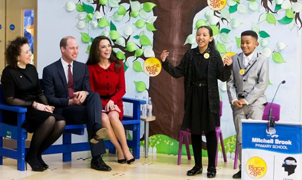 The Duke and Duchess of Cambridge awarding a kindness cup