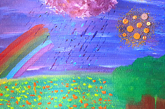 Painting of a field covered in fallen leaves, with a rainbow, sun and rainy cloud in the sky above it