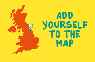 Map of UK, with text reading 'Add yourself to the map'