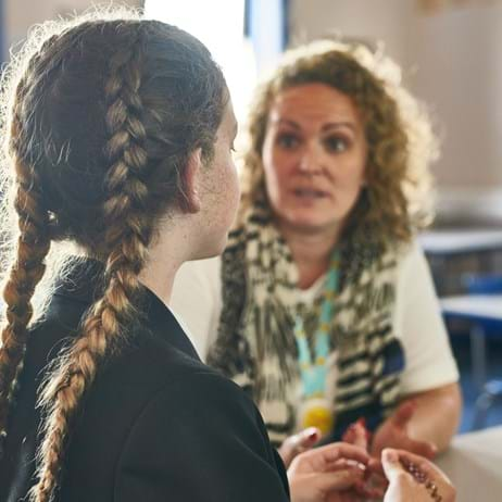 Counsellor talking to a child