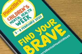 Children's Mental Health Week on a mobile phone with 'Find your Brave'