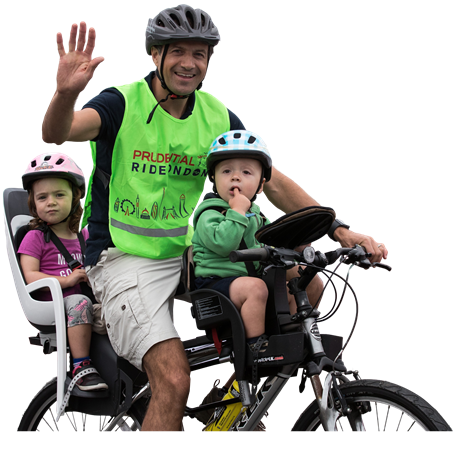 Father and kids on bike