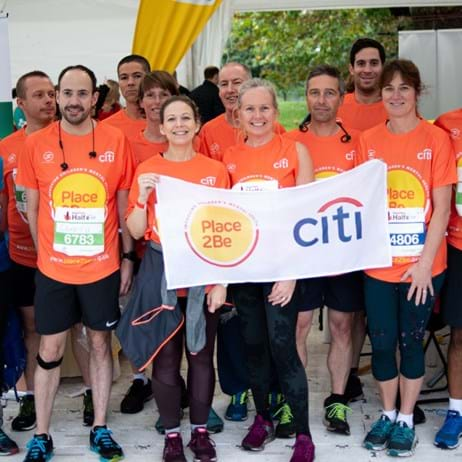 Group shot at Royal Parks Half Marathon with Citi corporate partner of Place2Be