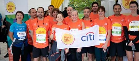 Group shot at Royal Parks Half Marathon with corporate supporters of Place2Be (Citi)
