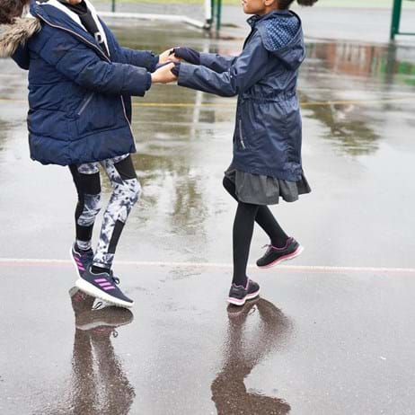 Children playing in puddles in playground