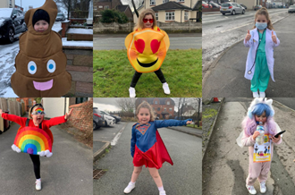 Photos of 5 year old Jasmine, who walked 15 miles during the week wearing fancy dress