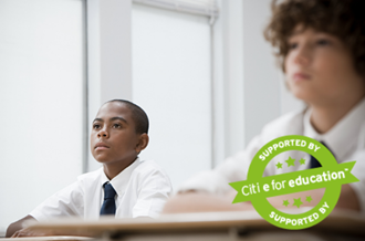 Two boys in classroom. Text saying 'supported by citi e for education'.