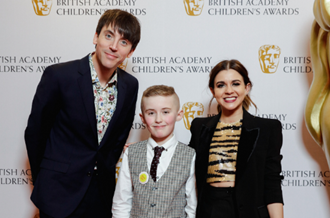 Brandon with Ed Petrie and Lauren Layfield, CBBC presenters