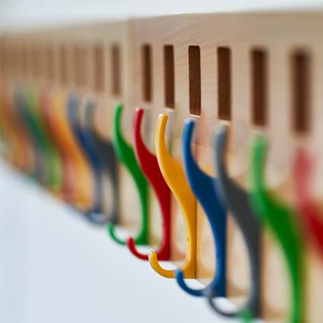 Coat hooks at school in different colours